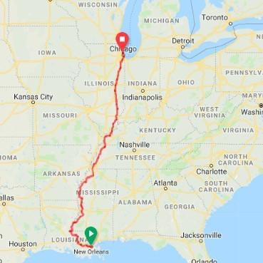 Map of ride for refugees route new orleans to chicago