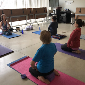 3 health class photos-yoga, knitting and cooking class