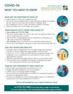 Heartland Health Centers one pager on COVID-19 English