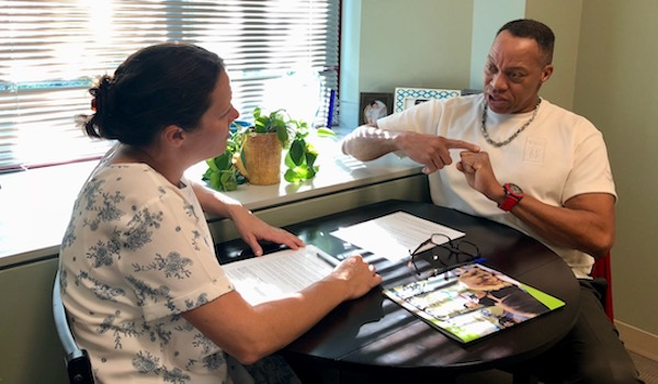 patient therapist behavioral health consult in an office