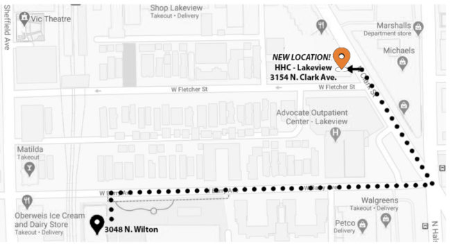 Map showing new HHC-Lakeview location