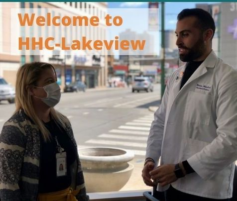Staff in front of window in the new HHC-Lakeview clinic