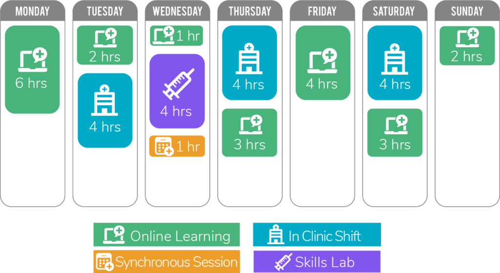 chart of NIMAA program showing activities day by day